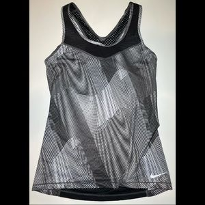 Nike Black And White Tank Top With Mesh